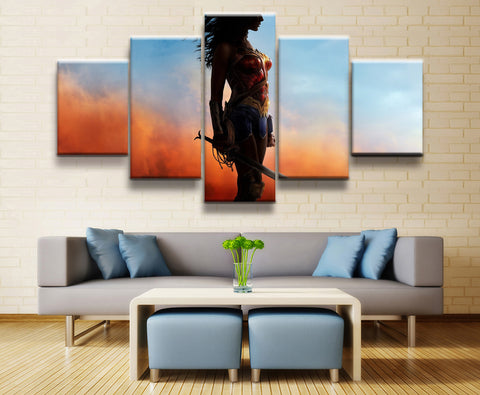 5 Panel Framed Wonder Woman Hero Poster Modern Décor Canvas Wall Art HD Print