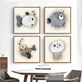 Nordic Style Abstract Stone Shaped Fish Modern Kids Room Canvas Wall Art HD Print