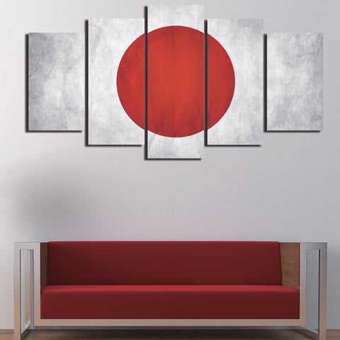 5 Panel Japanese Flag Modern Décor Wall Art Canvas HD Print