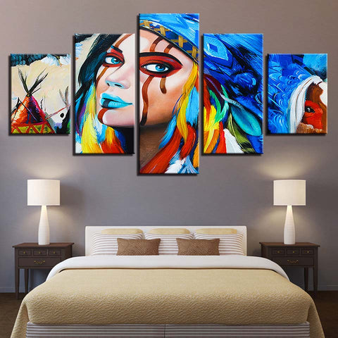 5 Panel Native American Indian Girl Painting Home Decor Canvas Wall Art HD Print