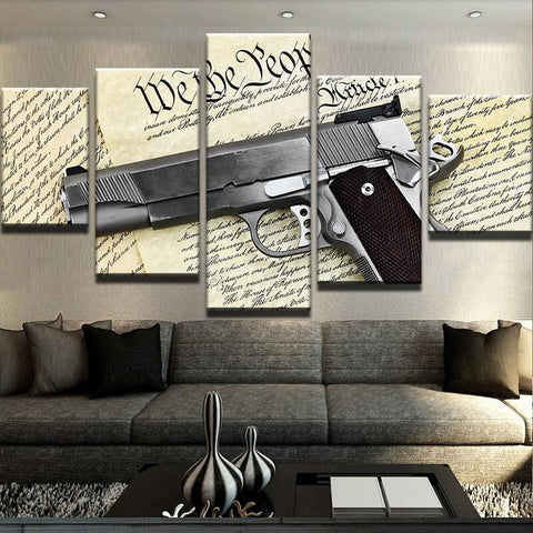 5 Panel Colt 1911 Handgun & Constitution Modern Décor Wall Art Canvas HD Print