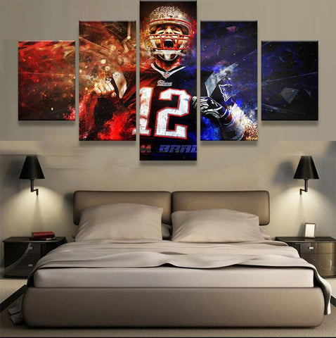 5 Panel Framed NFL Patriots Tom Brady #12 Modern Décor Canvas Wall Art HD Print
