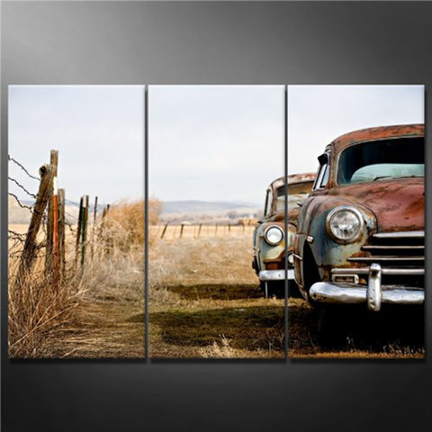 3 Panel Vintage Cars Rusting in a Field Modern Décor Wall Art Canvas HD Print