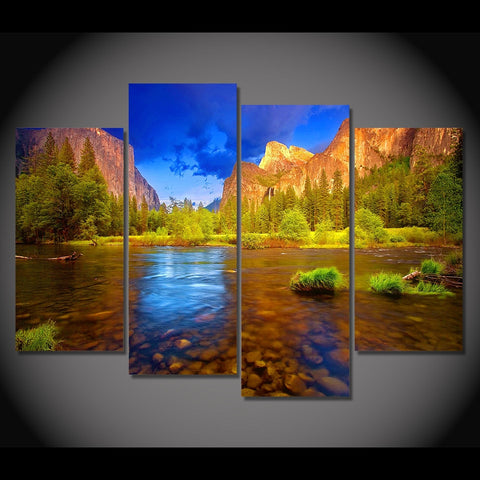 4 Panel Cliffs-Trees- River Modern Decor Canvas Wall Art HD Print