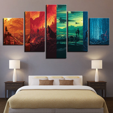 5 Panel Star Wars Jedi Multi Color Modern Decor Canvas Wall Art HD Print