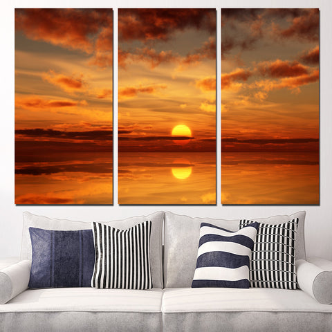 5 Piece Sunrise And Sunset Fire Cloud Sea Horizon Reflection Modern Decor Canvas Wall Art HD Print