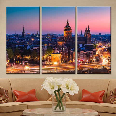 3 Pieces London Night View City Building Modern Decor Canvas Wall Art HD Print