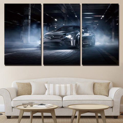 3 Piece Black Sports Car Modern Decor Canvas Wall Art HD Print