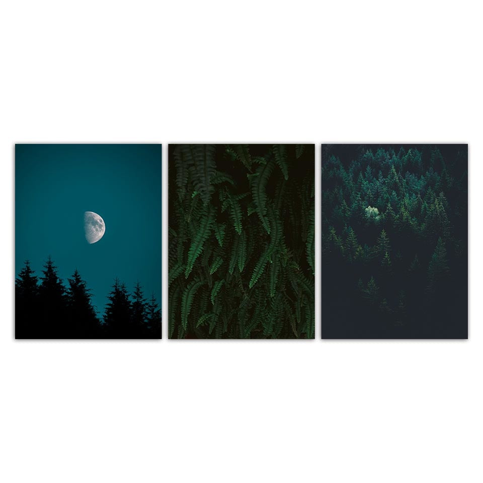 Nordic Trees-Moon Night Sky Modern Decor Canvas Wall Art HD Print