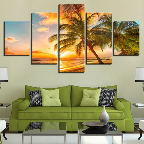 5 Panel Sunset Beach Wave Palm Trees Modern Décor Canvas Wall Art HD Print.