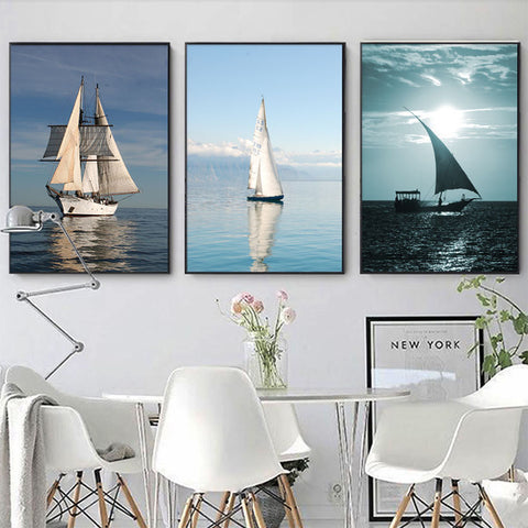 Nordic Style Sailboat Seascape Modern Decor Canvas Wall Art HD Print