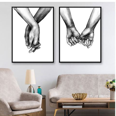 Nordic Style Black And White Holding Hands Modern Decor Canvas Wall Art HD Print