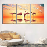 3 Panel Flamingos And Seagull Sunset Modern Decor Canvas Wall Art HD Print