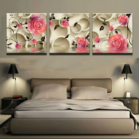 3 Pc Classic Flower Pink Rose Canvas Wall Art HD Print