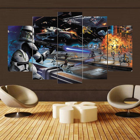 5 Panel Star Wars Clone Troopers Attacking Droids Modern Canvas Wall Art HD Print