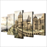 Modern Canvas Wall Art Poster Frame Home Decor Modular HD Printed Pictures 5 Pieces Harry Potter Hogwarts Castle Painting PENGDA
