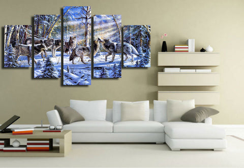 Canvas Painting Modern Art Live Wall Decoration Frames Modular Pictures Landscape Oil Painting 5 Panel Animal Wolf PENGDA