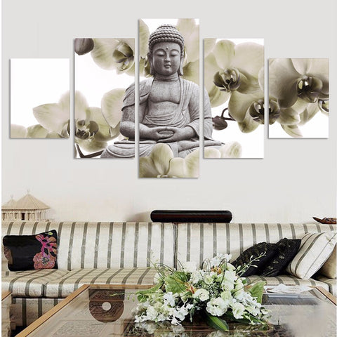 5 Panel Buddha with orchids Modern Decor Canvas Wall Art HD Print