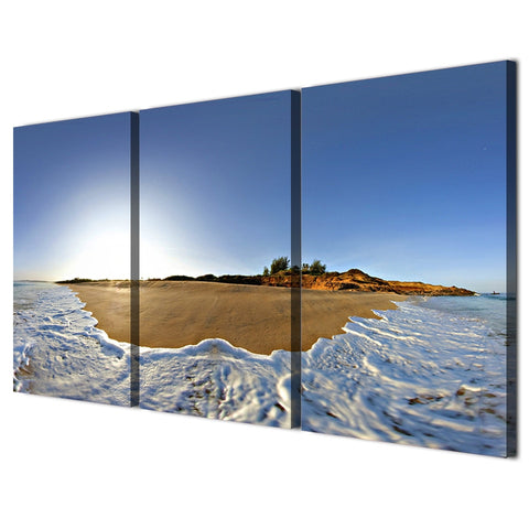 3 Piece Waves Over The Beach Modern Canvas Wall Art HD Print