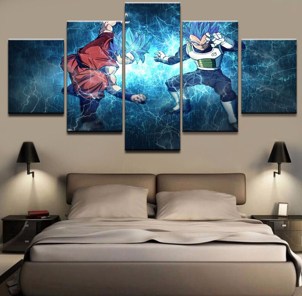 Canvas Wall Art Pictures Modular Living Room Decor 5 Pieces Dragon Ball Super Goku And Vegeta Painting Prints Anime Poster Frame