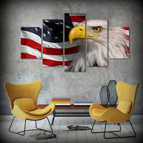 5 Panel American Bald Eagle With American Flag Modern Decor Canvas Wall Art HD Print