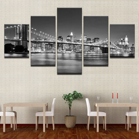 5 Panel Black & White Brooklyn Bridge City Night Modern Decor Canvas Wall Art HD Print.