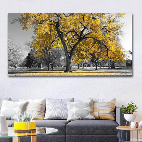 Black & White Trees with A Yellow Highlight Modern Decor Canvas Wall Art HD Print