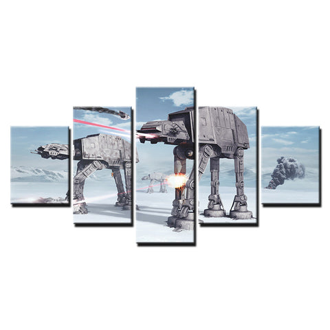 5 Panel Framed Star Wars Hoth Battle Modern Décor Canvas Wall Art HD Print