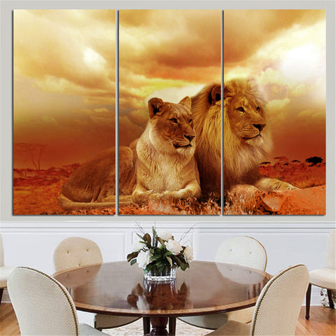 3 Panel Lion & Lioness in Golden Sunset Modern Décor Wall Art Canvas HD Print