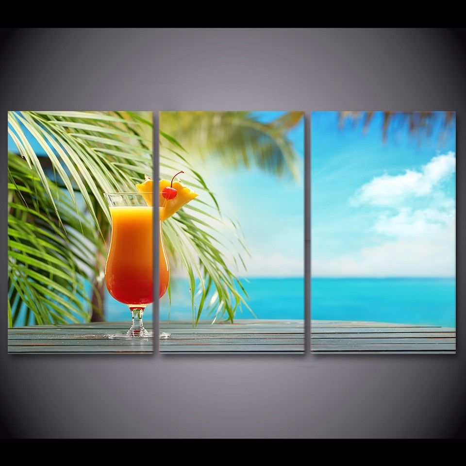 3 Piece Tropical Fruit Drink By The Beach Modern Canvas Wall Art