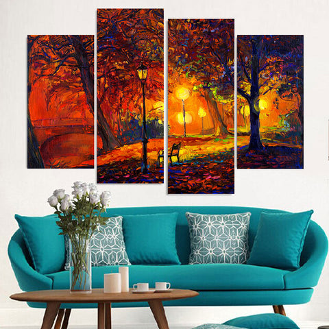 4 Panel Park in The  Night Light Modern Decor Canvas Wall Art HD Print