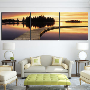 Canvas Pictures Living Room HD Prints Posters Home Decor 3 Pieces Sunset Lake Boardwalk Seascape Paintings Wall Art Framework