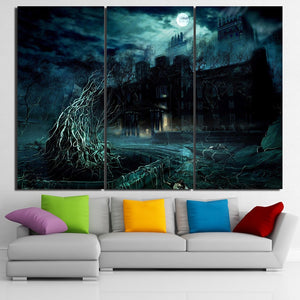 3 Panel Dark Stormy Night Haunted House Modern Decor Canvas Wall Art HD Print