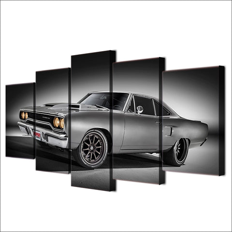 5 Panel Classic US Muscle Car in Gray Modern Décor Wall Art Canvas HD Print