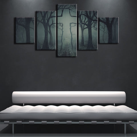 5 Panel Cross Landscape Tree Modern Decor Canvas Wall Art HD Print
