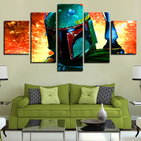 5 Panel Star Wars Boba Fett Modern Decor Canvas Wall Art HD Print