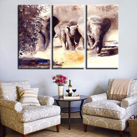 3 Piece Watercolor Elephant Modern Decor Canvas Wall Art HD Print