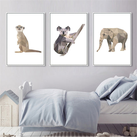 Nordic Style Art Abstract Geometry Animals Elephant Monkey Modern Decor Canvas Wall Art HD Print