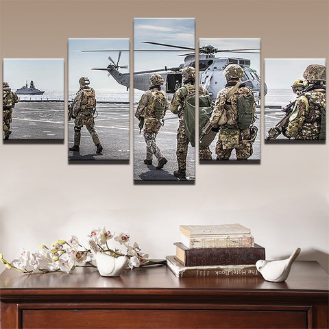 5 Panel Military Aircraft with Soldiers Modern Decor Canvas Wall Art HD Print