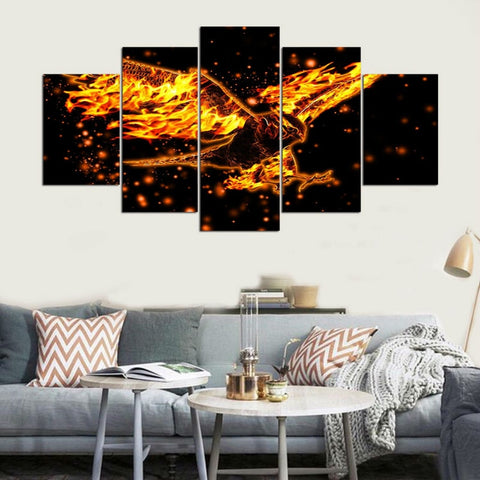 5 Panel Flaming Eagle Modern Décor Wall Art Canvas HD Print