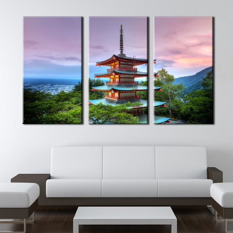 3 Panel Fuji Mountain Sunset Tower Modern Decor Canvas Wall Art HD Print