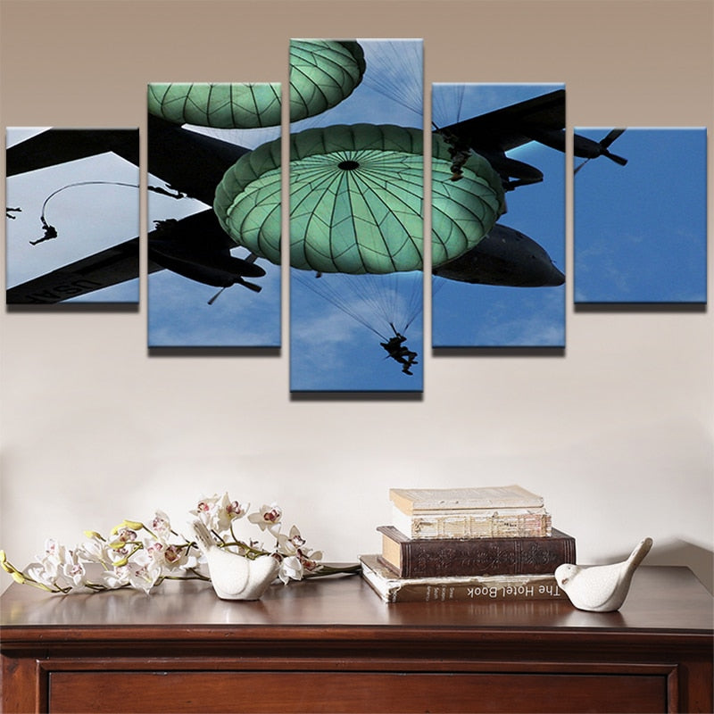 5 Panel US Paratroopers in Action Modern Décor Wall Art Canvas HD Print