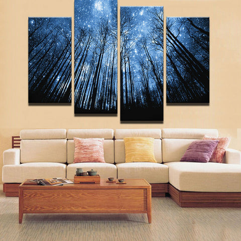4 Panel Trees in a  Starry Night Modern Decor Canvas Wall Art HD Print