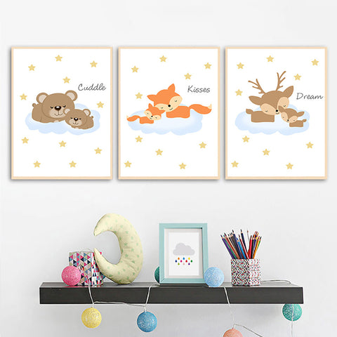 Nordic Style Cartoon Animal Watercolor Modern Kids Room Canvas Wall Art HD Print