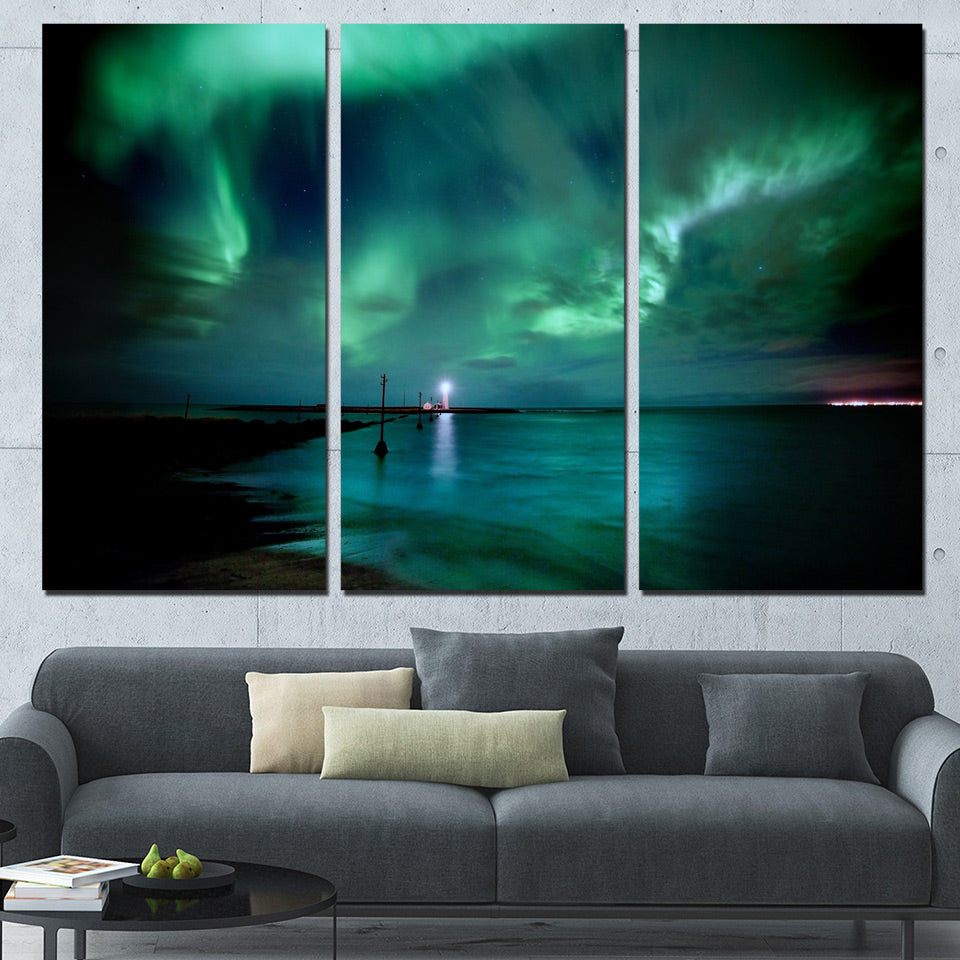 3 Pieces Northern Aurora Lights Paintings HD Prints Lake Posters
