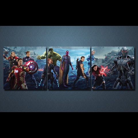 3 Panel Thor-Ironman-Captain America-Hulk-Black Widow-Vision-Scarlet Witch-Hawkeye-Quicksilver-Ultron Prime Modern Decor Canvas Wall Art HD Print