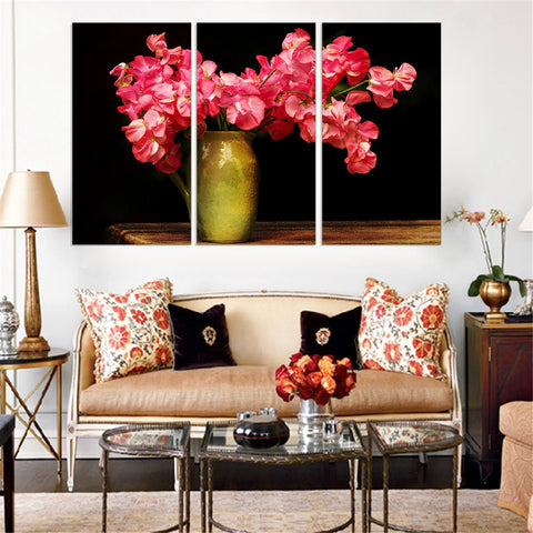 3 Pc Beautiful Pink Red Flowers On Vase Canvas HD Print