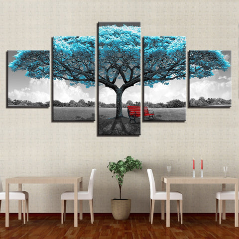 5 Pieces Blue Big Tree Red Chair Pictures Abstract Poster Wall Art