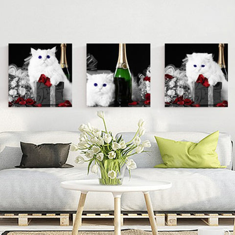 3 Panel 3 White Cat Modern Decor Canvas Wall Art HD Print