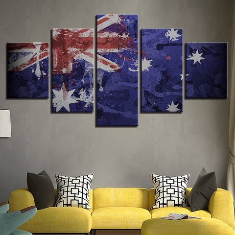 5 Panel Framed Abstract Australian Flag Modern Décor Canvas Wall Art HD Print